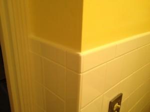 Bull nose tile at corner