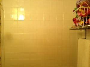 Shower wall with new tile