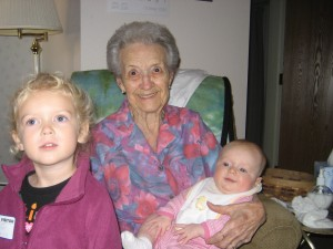 Grandma with Audrey and Lily