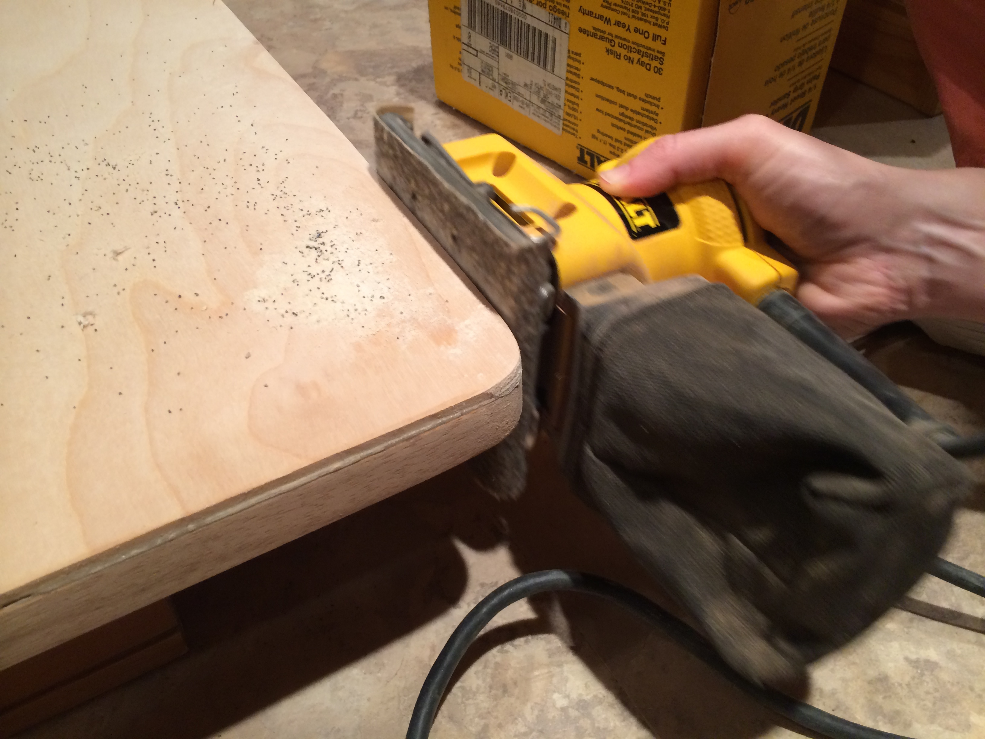 Sanding with rough grit sandpaper